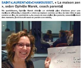 Article leprogres.fr parentalite positive organisation maison zen